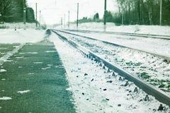 Mening van spoorweg in de winter Royalty-vrije Stock Foto