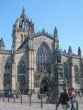 Mening van St Giles Cathedral, in Edinburgh stock foto's