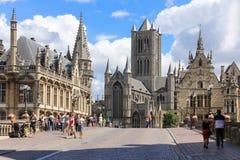 Mening van St Michael Bridge gent belgië stock afbeeldingen