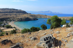 Mening van St Paul Baai, Lindos Rhodos, Griekenland Royalty-vrije Stock Fotografie