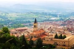 Mening van stad in de Pyreneeën Berga Royalty-vrije Stock Foto's