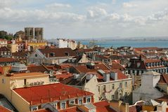 Mening van stad van Lissabon, Portugal Stock Foto's