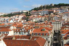 Mening van stad van Lissabon, Portugal Stock Foto