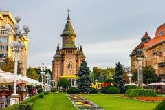 Mening van stadscentrum in Timisoara op 22 Juli, 2014, Roemenië Stock Afbeeldingen