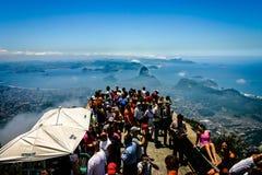 Mening van Standbeeld van Christus de Verlosser, Corcovado-Berg, Rio de Janeiro, Brazilië Royalty-vrije Stock Afbeeldingen
