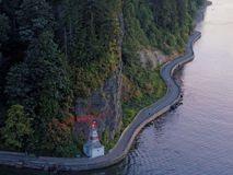Mening van Stanley Park Seawall From Above, Vancouver Royalty-vrije Stock Foto
