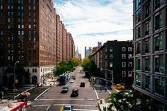 Mening van 23ste Straat van de Hoge Lijn in Chelsea, Manhattan, Ne Stock Fotografie