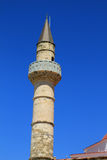 Mening van steenminaret van oude moskee op Grieks Eiland Kos Royalty-vrije Stock Fotografie