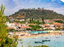 Mening van Stoupa-strand, die in Messinia, Griekenland wordt gevestigd royalty-vrije stock foto