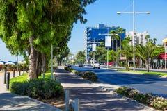 Mening van straat, Limassol, Cyprus Stock Afbeelding