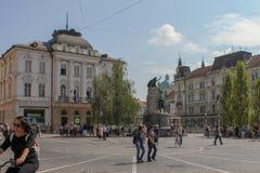 Mening van straat in Ljubljana, Slovenië royalty-vrije stock fotografie