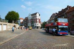 Mening van straat in stadscentrum van Hamburg Royalty-vrije Stock Foto's