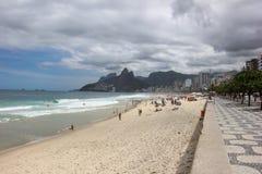 Mening van strand Ipanema in Rio de Janeiro Stock Fotografie