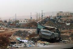 Mening van straten na het bombarderen van Israël in Palestina Royalty-vrije Stock Afbeeldingen