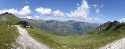 Mening van Stubnerkogel, Slechte Gastein, Almorama, Salzburg, Oostenrijk Stock Foto's