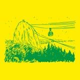 Mening van Sugarloaf-Berg in Rio de Janeiro Vector Illustratie