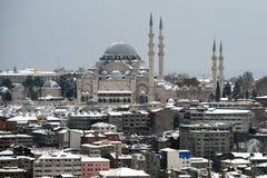 Mening van Suleymaniye-Moskee van Galata-Toren Stock Foto