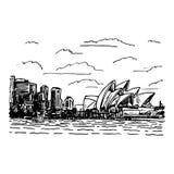 Mening van Sydney Opera House, Australië Royalty-vrije Illustratie