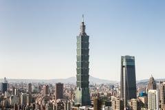 Mening van Taipeh 101 de bouw van het wereldhandelscentrum Royalty-vrije Stock Afbeeldingen