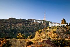 Mening van teken Hollywood in Los Angeles Royalty-vrije Stock Foto