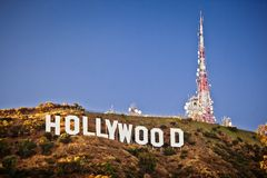 Mening van teken Hollywood in Los Angeles Stock Fotografie
