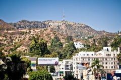 Mening van teken Hollywood in Los Angeles Stock Foto