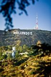 Mening van teken Hollywood in Los Angeles Stock Afbeelding