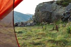 Mening van Tent camping royalty-vrije stock afbeelding