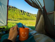 Mening van Tent ijsland Royalty-vrije Stock Afbeeldingen