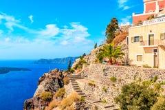 Mening van terras Santorini Stock Afbeeldingen