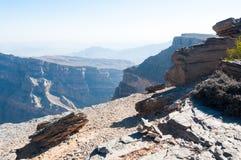 Mening van terrein van Canion van het Midden-Oosten, Oman stock foto
