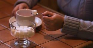 Mening van theekopje en suiker in koffie Royalty-vrije Stock Foto's
