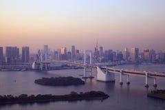 Mening van Tokyo de stad in bij nacht. Royalty-vrije Stock Foto