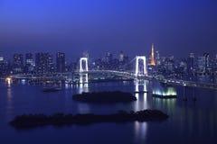Mening van Tokyo de stad in bij nacht Stock Afbeelding