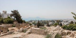 Mening van Tunis van de ruïnes van Carthago, Tunesië, Afrika stock afbeelding