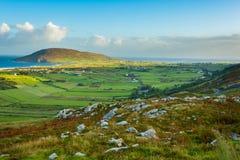 Mening van Urris/Dunaff van Mamore Gap, Clonmany, Co Donegal Royalty-vrije Stock Foto's