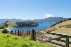 Mening van Urupukapuka-Eiland in Baai van Eilanden, Nieuw Zeeland, NZ Stock Foto