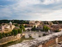 Mening van van Rome, Italië met de rivier Tiber Royalty-vrije Stock Fotografie