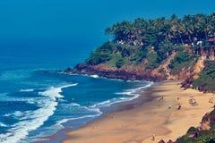 Mening van Varkala-strand van klip Royalty-vrije Stock Foto's