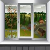 Mening van venster van landschap van stad van heuvel Royalty-vrije Stock Foto