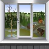 Mening van venster van landschap van stad van heuvel Royalty-vrije Stock Afbeeldingen