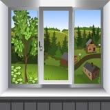 Mening van venster van landschap van stad van heuvel Stock Fotografie