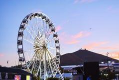 Mening van Victoria en alfred de haven van de waterkant bij zonsondergang Stock Foto's