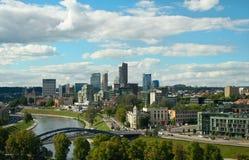 Mening van Vilnius-bedrijfsdistrict Stock Afbeeldingen