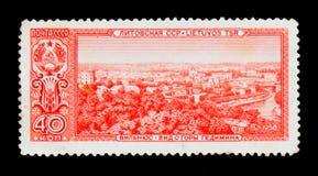 Mening van Vilnius, Litouwen, Hoofdsteden van Socialistische Republiek Sovjetunie serie, circa 1958 Stock Fotografie