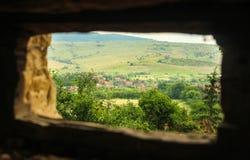 Mening van Viscri, Roemenië stock foto's