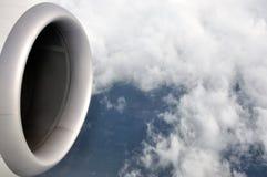 Mening van vliegtuig in hemel Royalty-vrije Stock Afbeeldingen