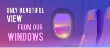 Mening van vliegtuig Luchtvaartlijnpassagier Vakantiebestemmingen stock illustratie