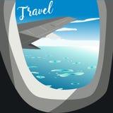 Mening van vliegtuig Vluchtvenster Vakantiebestemmingen vector illustratie