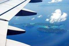 Mening van vliegtuigvenster iew van vliegtuigvenster Stock Foto's